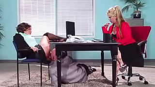 Hot brunette gets fucked in office