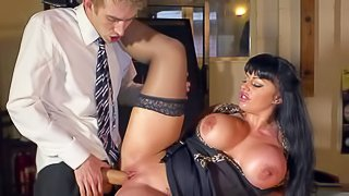 Kerry Louise is a sex obsessed busty teacher with dirty thoughts on her mind. Woman in black stockings pulls out her giant tits and opens her legs. Danny D sticks his big cock in her wet vagina. Watch big racked slut get shagged
