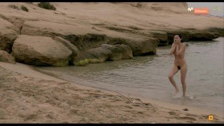 Spanish Actress Elena Anaya Totally Naked in the Beach in a Movie