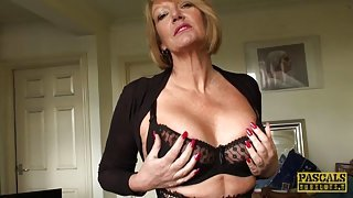 Busty mature submissive strips and teases