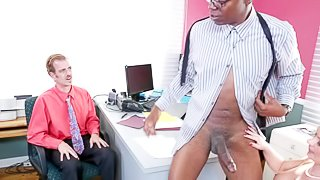 Cock addicted cuckold blonde wife Katja Kassin with nice tits and tempting face gets on her knees to give head to black bull Sean Michaels with fat monster cock in front of her husband