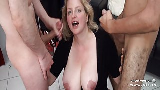 Amateur BBW squirt french mom hard DP and facial