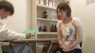Fit Jap babe gets a big creampie during medical examination